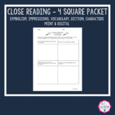 ***Close & Critical Reading*** 4 Square Guiding Questions