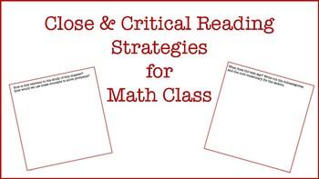 Close & Critical Reading in MATH!