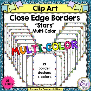 Close Edge Borders with Multicolor Stars in Color and BW Commercial or Personal