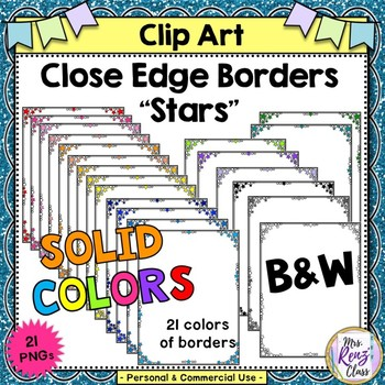 Close Edge Star Borders in 21 Colors including BW for Commercial or Personal Use