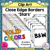 Close Edge Borders with Stars in Color & BW for Commercial