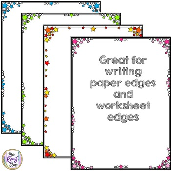 Close Edge Star Borders - Star Solid Borders plus Multi-Color Star Border BUNDLE