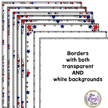 Close Edge Borders Red, White and Blue Patriotic Themed Borders
