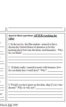 Close Encounters of the 3rd Kind - Movie Activity Sheet - Keene
