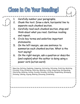 """Close In On Your Reading"" CCSS Close Reading Strategy Reference"