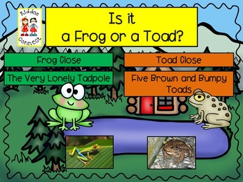 Close Informational Reading - Frogs and Toads with Literacy and Math Activities