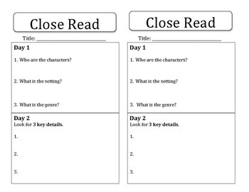 Close Read Worksheet