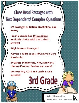 3rd grade reading passages with multiple choice questions pdf