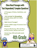 27 Close Read Comprehension Passages with Text Dependent Questions - 4th Grade