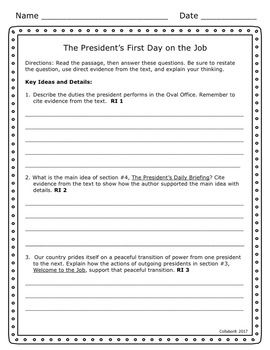 Close Reading Informational Text: A President's First Day in Office
