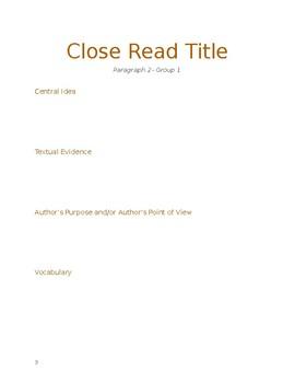 Close Read Activity