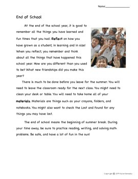 Close Read Activity- End of School Nonfiction