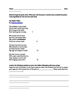 """Close Read Assignment """"My Papa's Waltz"""" excerpt with text dependent questions"""