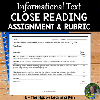 Close Read Assignment and Rubric (Informational Text)