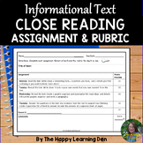 Close Read Assignment and Rubric for Informational Text