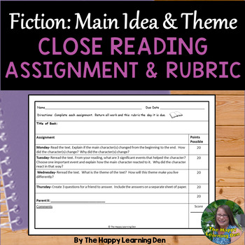 Close Read Assignment & Rubric: Main Idea & Theme (Fiction)