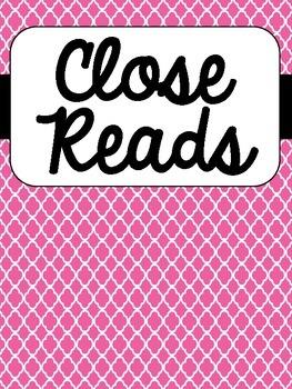 Close Read Binder Covers {Freebie}