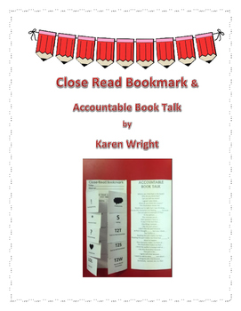 Close Read Bookmark & Accountable Book Talk Sentence Starters