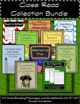 Close Read Collection Bundle: 10 Close Reading Passages for 3rd-6th