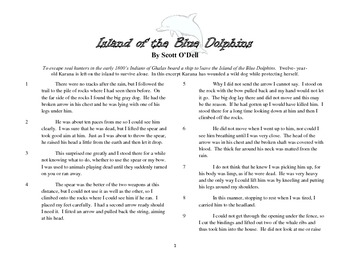 "Close Read Common Core Aligned ""Island of the Blue Dolphins"" Lesson & Passage"