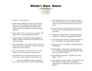 Close Read- Common Core Aligned- Nicole's Nose Knows