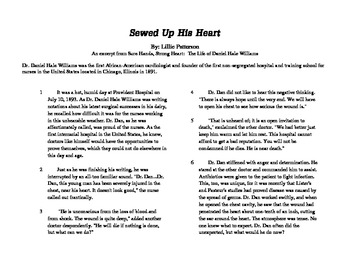 "Close Read Common Core Aligned ""Sewed Up His Heart"" Lesson Plan & Passage"