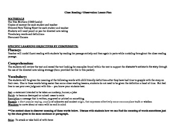 """Close Read Common Core Aligned """"The Two Brothers"""" Lesson & Passage"""