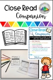 Close Read Companion Reading Response Booklet for Fiction