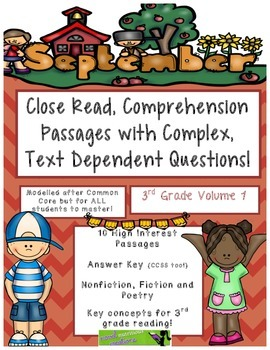 September 3rd - Common Core Close Read w/ Text Dependent Complex Questions
