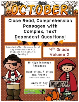October 4th (Vol. 2) Close Read Passages with Complex Text Dependent Questions