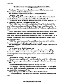 """Close Read of """"Hunger Games"""" excerpt with text dependent q"""