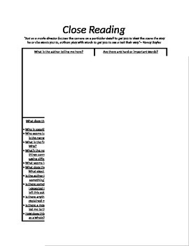 Close Read- Graphic Organizer