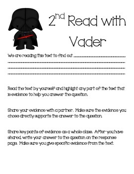 Close Read Graphic Organizers CCSS with Star Wars Characters