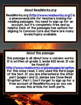 """Close Read """"How a Volcano Works"""" (Informational Text)"""
