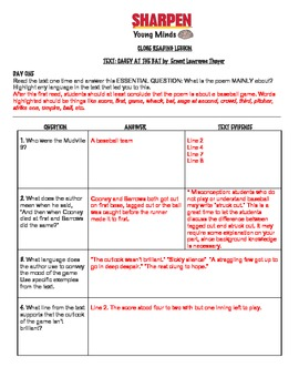 Close Read Lesson:Casey at the Bat with Text Dependent Questions