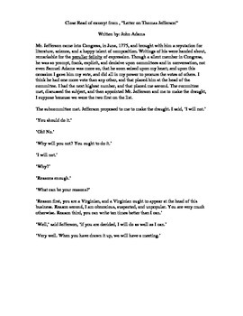 """Close Read """"Letter on Thomas Jefferson"""" w/ Plan and Text-Dependent Questions"""