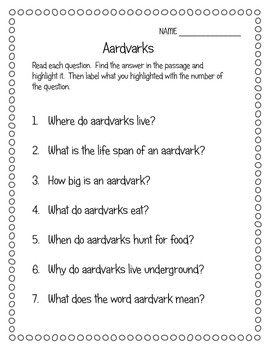 Close Read + MORE: Aardvarks