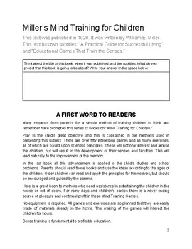 Close Read: Miller's Mind Training for Children