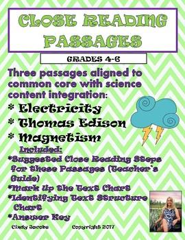Close Read Passages Electricity Magnetism Thomas Edison