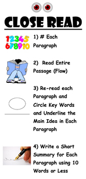 Close Read Poster (Reading Comprehension Strategy)