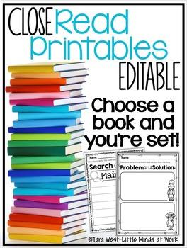 Close Read Printables EDITABLE