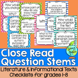 Question Stems, Close Reading, Literature, Informational Texts