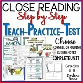 Close Reading: PowerPoint, Notes, Worksheets, Test Print & DISTANCE LEARNING