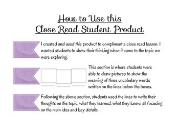Close Read Student Product