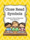 Close Read Symbols for Annotating Text