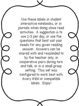 Close Read Text Dependent Questions Labels Non-Fiction