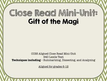 Close Read Unit - Gift of the Magi