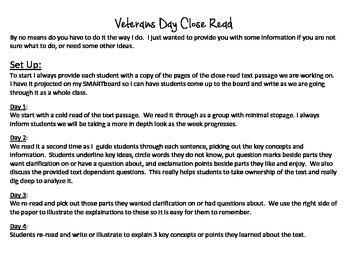 Close Read-Veterans Day