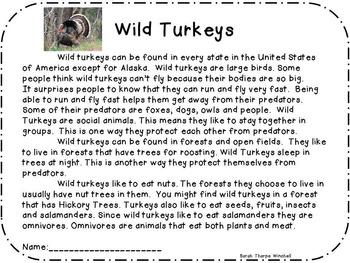 Nonfiction Wild Turkeys Close Reading with Art Activity