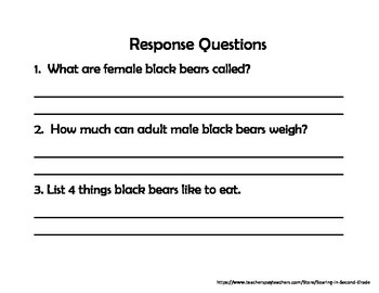 Close Read With Text Dependent Questions Black Bears Nonfiction Text
